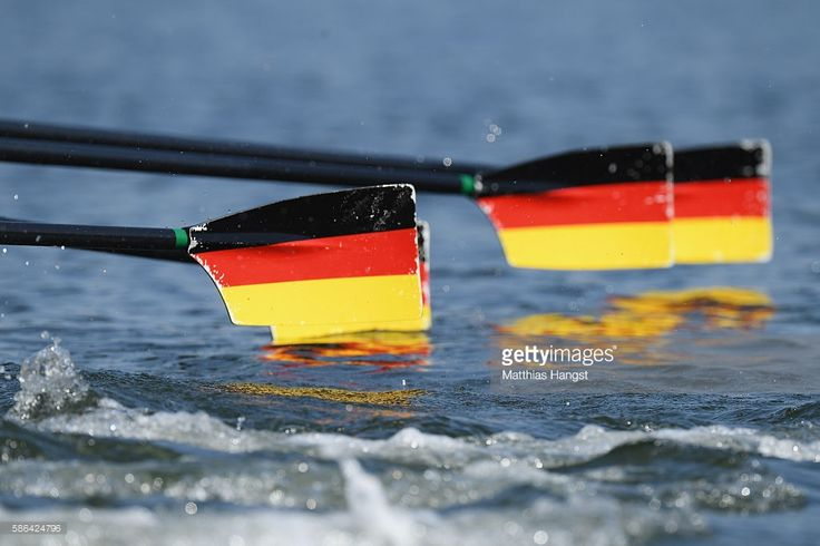 The oars of team Germany are seen during the Women's Quad. Sculls Heat 2 on Day 1 of the Rio 2016 Olympic Games at the Lagoa Stadium on August 6, 2016 in Rio de Janeiro, Brazil.