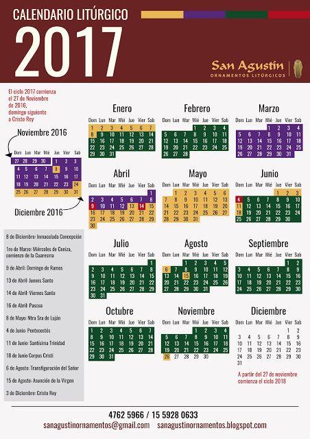 "San Agustin Ornamentos Litúrgicos - Argentina: Calendario Liturgico 2017 - Ciclo ""A"""