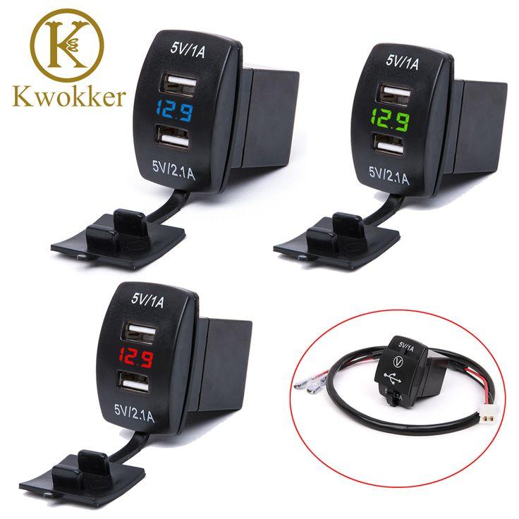 Tahan air 12 V-24 V Mini Micro Ganda USB Plug Motor Mobil Soket Pemantik Rokok Charger Mobil + LED Digital Voltmeter Meter
