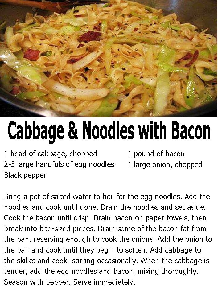 Cabbage & Noodles with Bacon