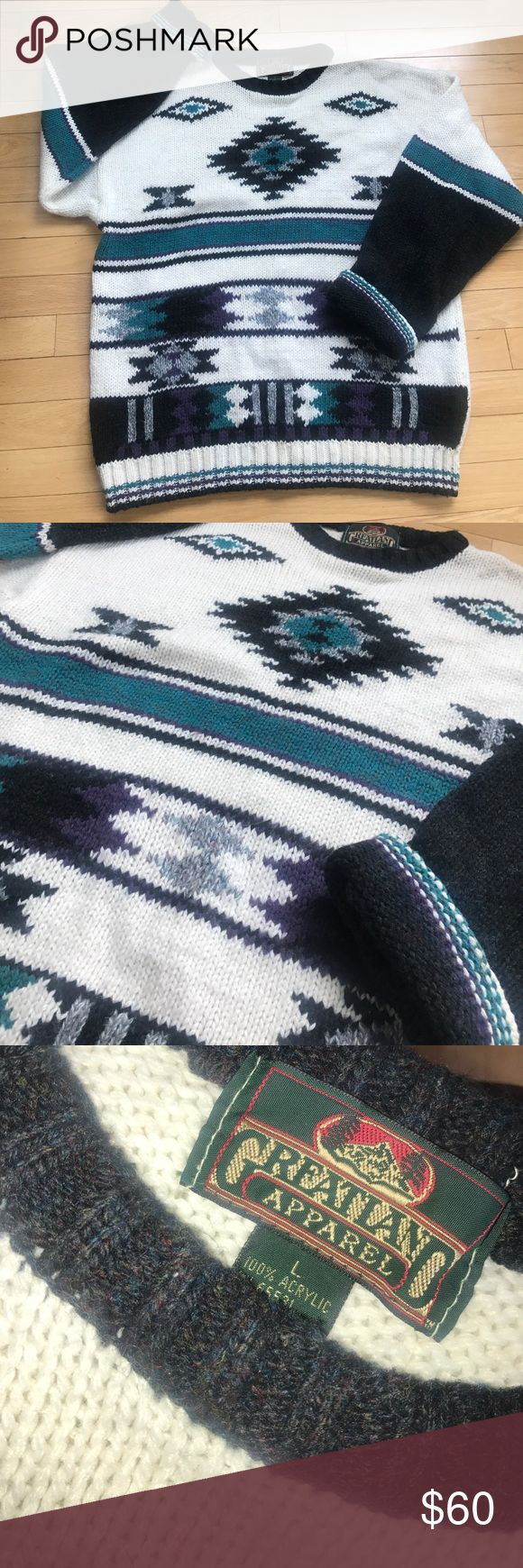 Men's large Vintage Greatland Apparel Sweater 😎 Men's  Vintage Large  Greatland Apparel Fall / Winter ❄️ Crewneck Sweater 😎. Pre- loved Great condition . 100 Acrylic.  ( Wool appearance ) No rips , holes , or stains . Slight pillage at the bottom.  Main colors are : White/ Cream , Grey multi color , purple and Aqua Blue Greatland Apparel Sweaters Crewneck