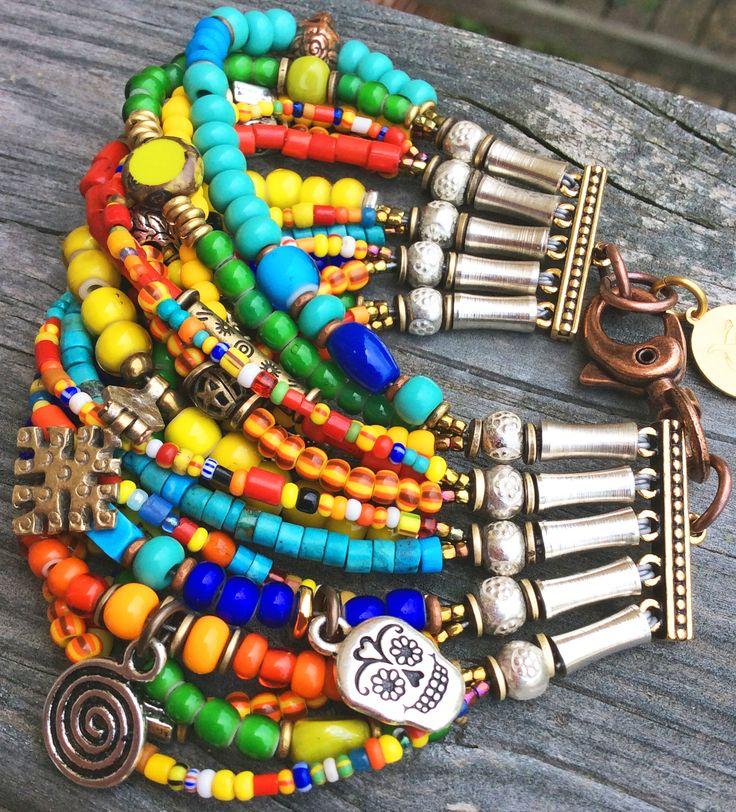 Dia de los Muertos Cuff: Colorful Boho Mexican-Inspired Skull Mixed-Media Cuff Bracelet $225