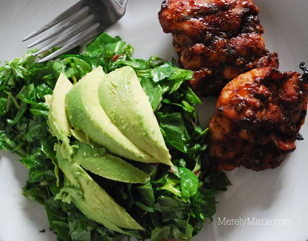 Spicy Honey Chicken & Kale Green Salad with Lime Vinaigrette.