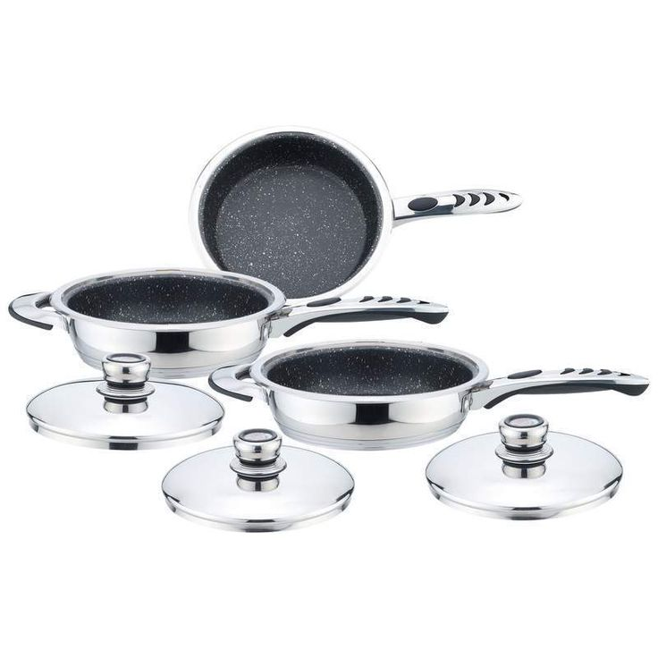 Precise Heat 6pc High-Quality, Heavy-Gauge Stainless Steel Non-Stick Skillet Set