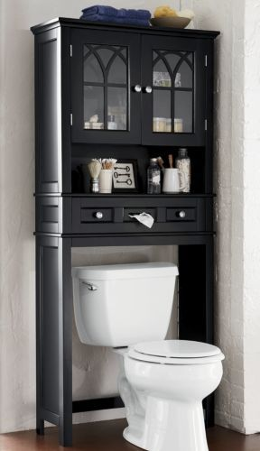 bath storage this handsome space saver will fit over any standard toilet adding valuable space for storing towels and bathroom necessities - Bathroom Cabinets That Fit Over The Toilet