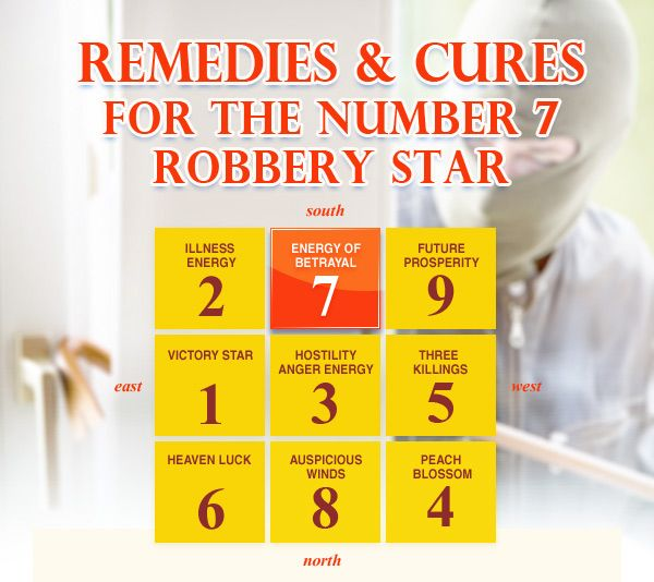The Number 7 Robbery and Violence star flies into the SOUTH affecting the luck of Horse and all middle daughters. There is the kind of year where sibling betrayal between sisters can cause great upheaval the family unit. Danger from metal arms and robbery is indicated for those whose bedrooms or entrances face South or located in the South sector.