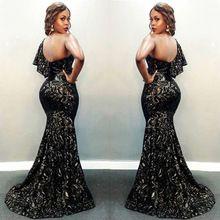África Ancara Nigeriano Rendas de Um Ombro Vestido de Noite Longo Sereia Vestidos de Noite 2017 Plus Size Elegantes Vestidos de Noite Longos alishoppbrasil