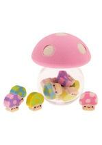 mushroom erasers in a mushroom box