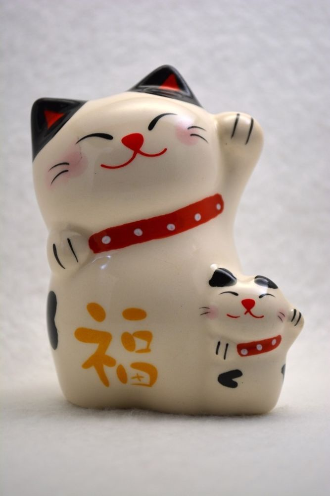 Lucky Cat Maneki-Neko white color (parent-child) from JAPAN Free Shipping #TheDAISOJAPAN