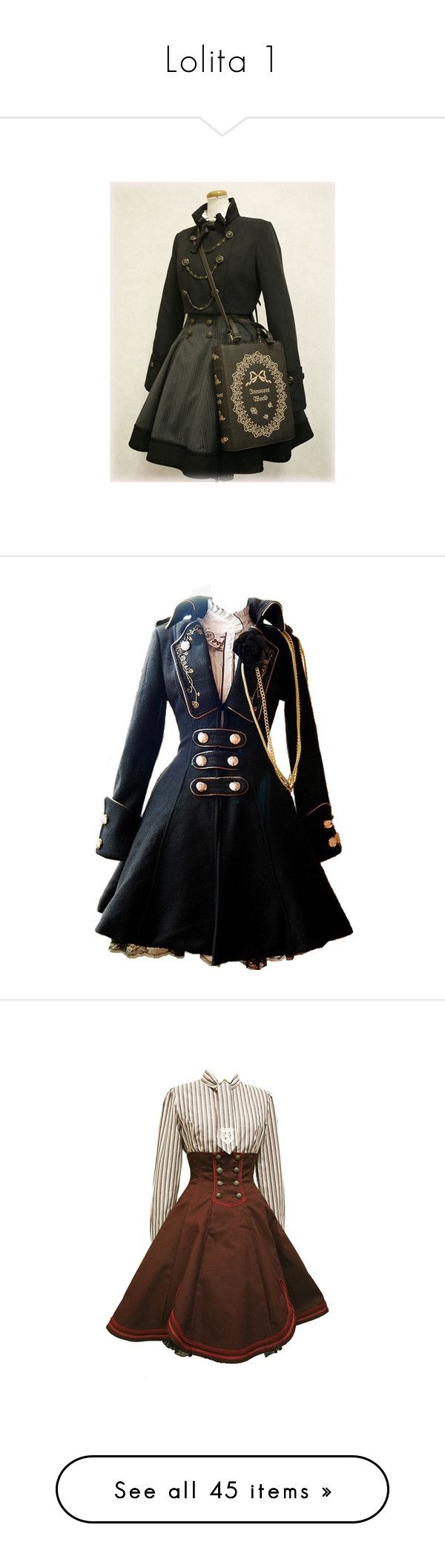 """""""Lolita 1"""" by ginger-snap-life ❤ liked on Polyvore featuring dresses, coats, jackets, steampunk, costume, short dresses, lolita, blue, butterfly print dress and military style dress"""