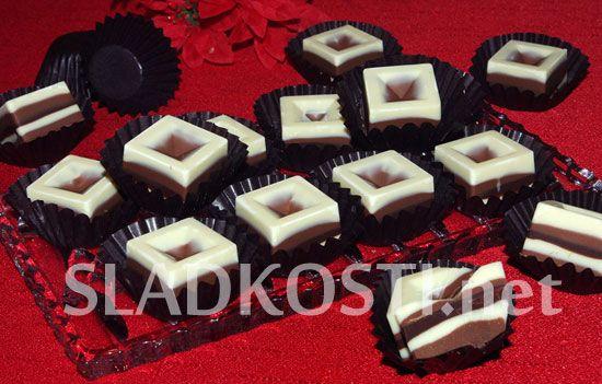 Proužkované čokoládové pralinky