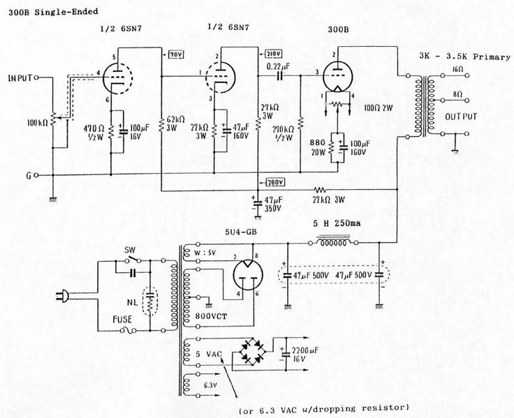 6SN7 / 300B Single-Ended (SE) Tube Amp Schematic