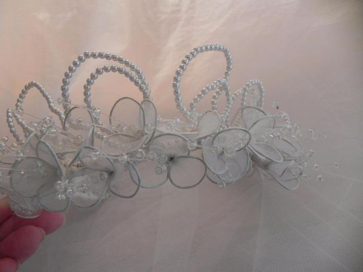 Bridal Headpiece Pearls Crystals Flowers Boho Chic Tiara Couture Detail NOS #BridalCap