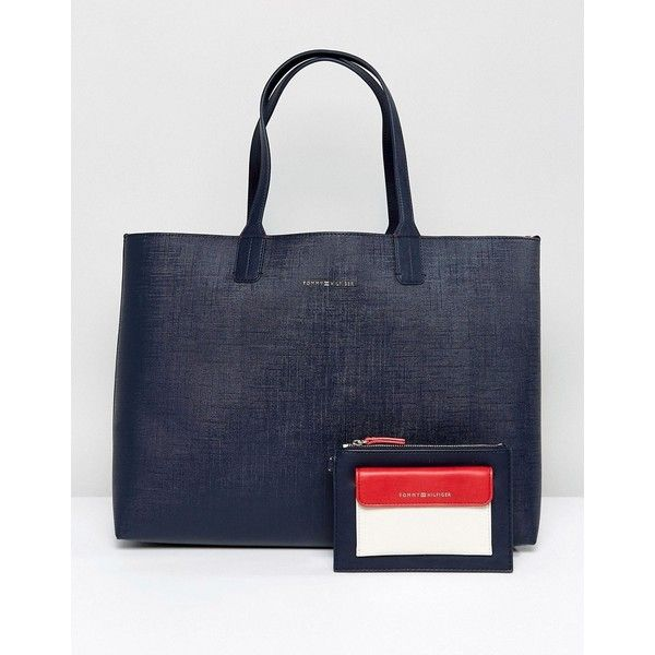 Tommy Hilfiger Reversible Tote ($180) ❤ liked on Polyvore featuring bags, handbags, tote bags, blue, tommy hilfiger tote bag, reversible tote, tommy hilfiger handbags, man bag and handbags totes