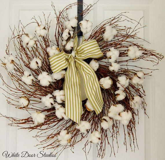 Cotton Boll Wispy Twig Wreath Farmhouse Wreath by WhiteDoorStudios