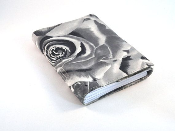 Grey gray roses journal notebook fabric by LindeDesigns on Etsy