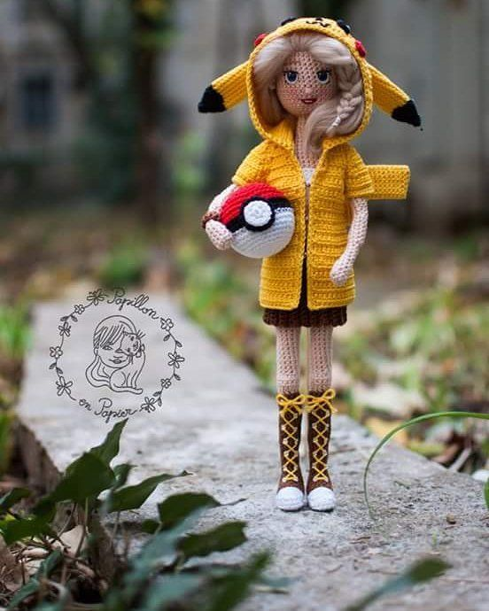 Pikachu girl - tutorial by @handmade_by_mrs.owl thank you so much! Made by #papillonenpapier #crochetdoll #amigurumi #pikachu #pokemon #pokeball