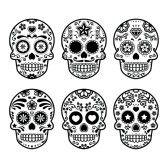 mexicain : Crâne de sucre du Mexique, Dia de los Muertos icônes fixés