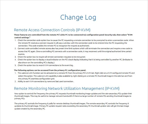 10 Change Log Template Templates Proposal Templates Words