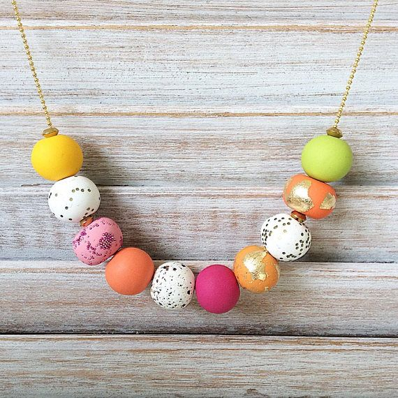 Bright coloured necklace polymer clay necklace multi