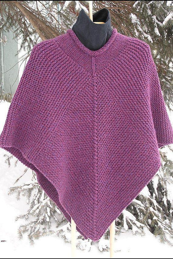 Knitting Stitch Patterns For Chunky Yarn : Poncho knitting pattern pdf garter stitch