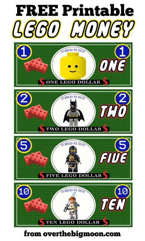 Free Printable Lego Money! Use for play money, or as a way for kids to earn money for an upcoming trip to Legoland. 3 styles available.