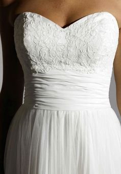 Embroidery Lace Empire Waist  Elegant Sweetheart Wedding Dress - I love the sweetheart neckline and waist band