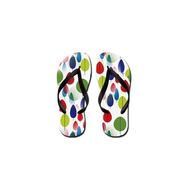 Colorful Forest Leaves Flip Flops ($20) ❤ liked on Polyvore featuring shoes, sandals, flip flops, multi color flip flops, multi color shoes, multi colored flip flops, multi color sandals and multi colored sandals