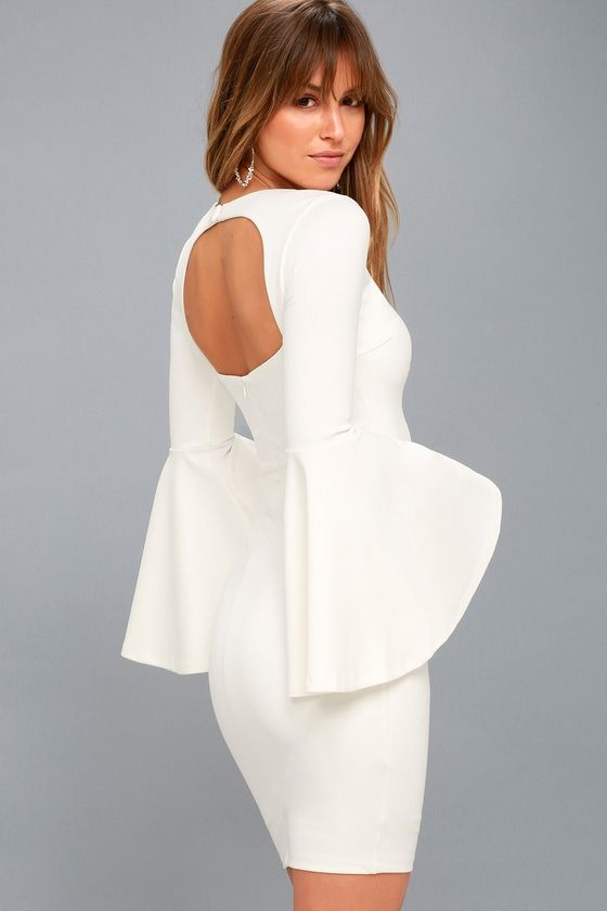 0ebadefd0f Take center stage in the Style Spotlight White Flounce Sleeve Bodycon Dress!  Dramatic flounce sleeves and a sexy bodycon fit combine to create this ...