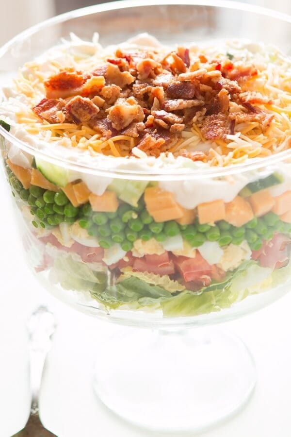 7 Layer Pea Salad Recipe Layered Salad Recipes Layered Salad Layered Salad With Peas