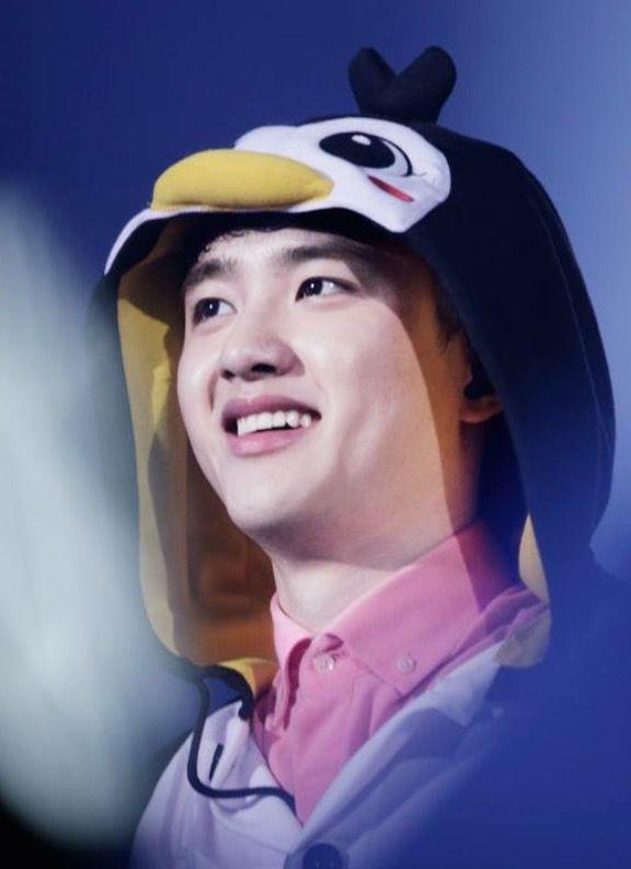 Kyungsoo in his penguin onesie