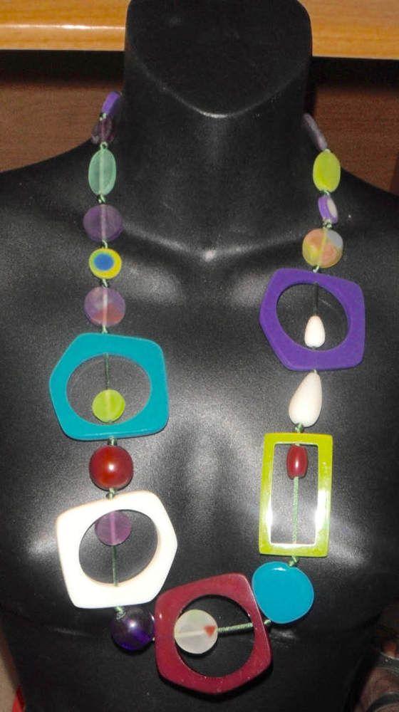 long  bib necklace lucite deco geometric shapes jewel colors vintage  #Unbranded #bibrunwaynecklace