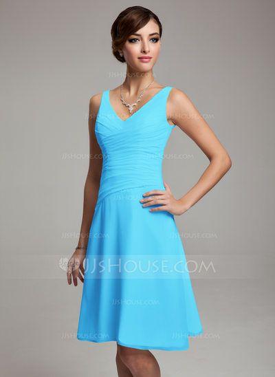 A-Line/Princess V-neck Knee-Length Chiffon Bridesmaid Dress With Ruffle Beading Sequins (007001083)