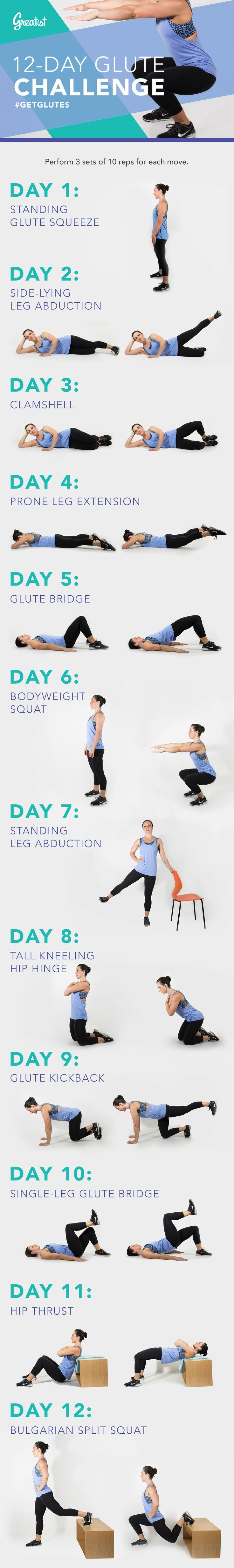 Join Greatist's 12-Day Glute Challenge — Are you ready to #getglutes? Join our 12-day challenge to build strong glutes that will help you throughout your everyday activities! #glutes #workout #fitness #exercises #greatist