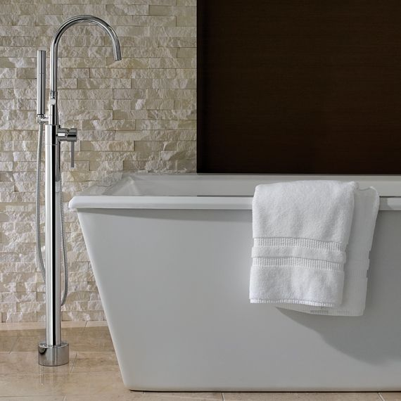 contemporary floor mount tub filler in chrome by