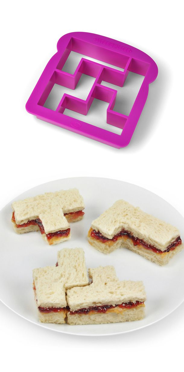 Tetris Sandwich Cutter - fun! I will eat a sandwich everyday! Jake would lose his mind if I got this and did it to his sandwiches for lunch lol.