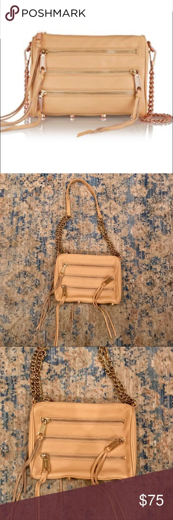 """Rebecca Minkoff Purse Rebecca Minkoff """"mini 5 zip"""" purse -- tan color. In good used condition. Only noticeable on inside, still has a lot of life left, as you can see from the outside. Can be worn with the chain long or doubled to make it shorter. Doesn't come with dust bag ❌ no trades Rebecca Minkoff Bags Crossbody Bags"""