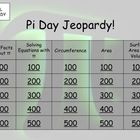 This Pi Day Jeopardy game has five fun sections:  Fun Facts about Pi  Equations with Pi Circumference  Area  Surface Area and Volume    The game in...