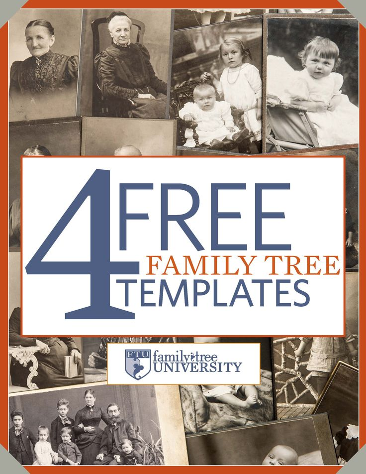 "Download our free genealogy e-book: ""4 Free Family Tree Templates."""