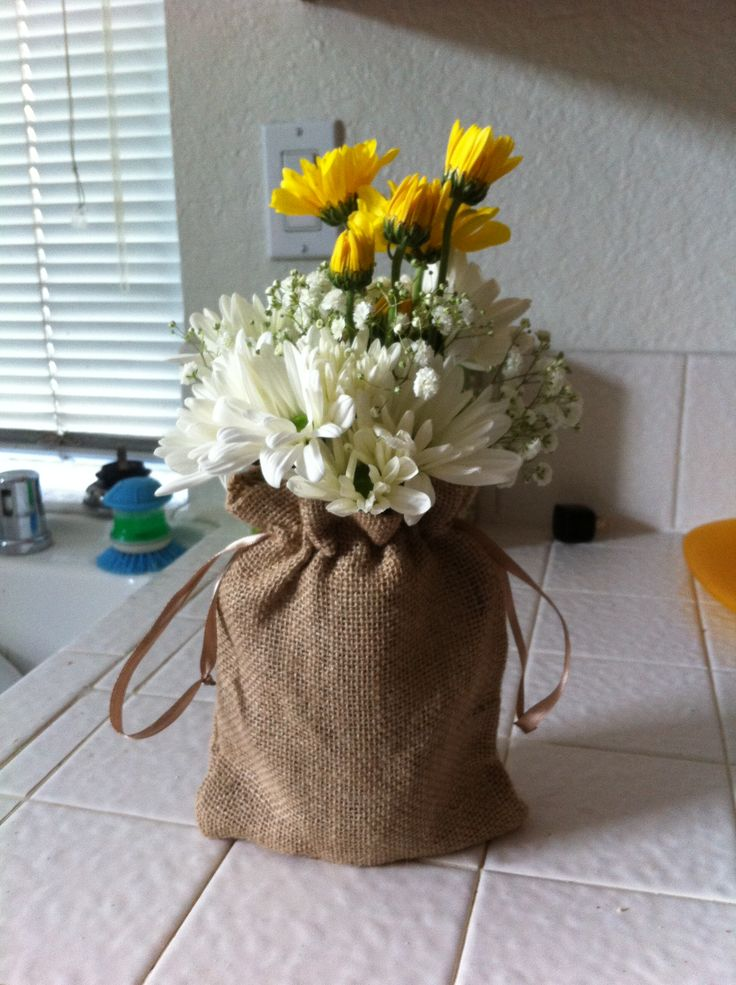 Centerpiece For Western Theme Luncheon Burlap Sacks Came