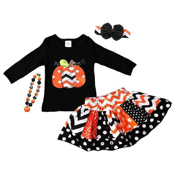 Black orange white chevron pumpkin top and skirt (includes top and skirt) and don't forget to add the optional matching accessories/items: (Messy Bow Headband,