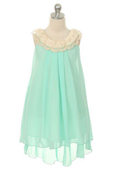 New Flower Girl Mint Green Chiffon Hi Low Dress Easter Christmas Graduation 4 14 | eBay