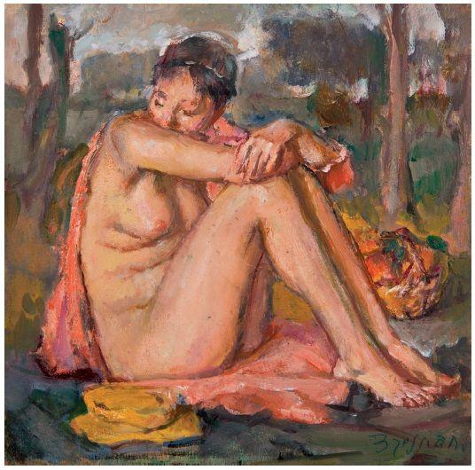 Antonio Bresciani (Napoli 1902-1998) Nudino 1967 olio su tavola cm19,5x19,5 Napoli Coll. Privata