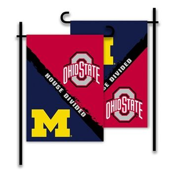 """Officially licensed Ohio State vs Michigan house divided garden flag. Size: 13"""""""" wide x 18"""""""" long The OSU, Michigan logo and wording reads correctly on both sides - see the picture for the front and b"""