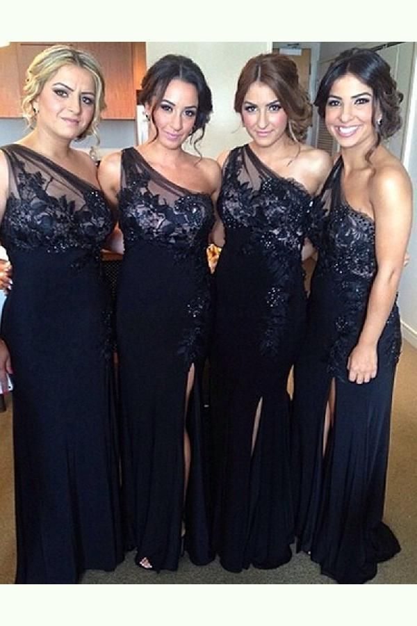 Hot Sale Suitable Wedding Dress Black Black Bridesmaid Dress, One-shoulder Bridesmaid Dress,Elegant Bridesmaid Dress