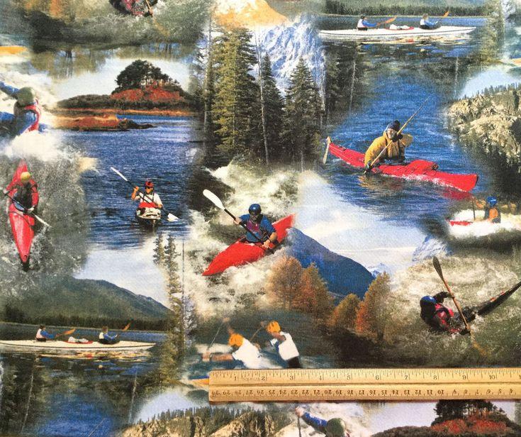 2 2/3 yards Kayak Fabric Backroads Experience RJR Fabrics Photo Whitewater Canoe | Crafts, Fabric | eBay!