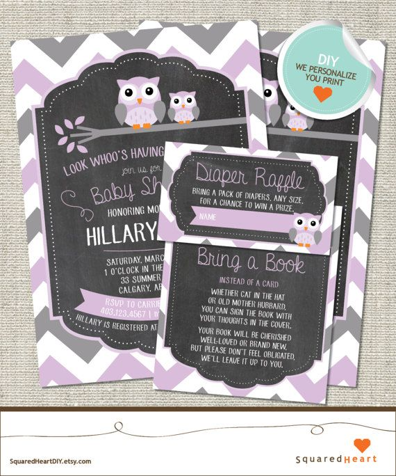 Owl Baby Shower Invitation Owl Invitation Owl Purple Gray