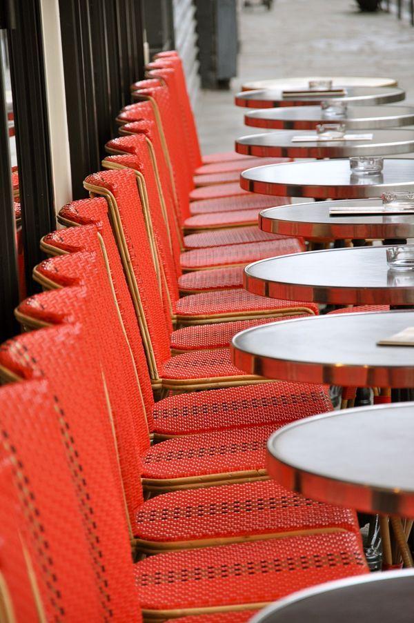 Parisian outdoor dining on tiny tables.