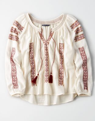b48c06cf191f21 AE Embroidered Tassel Blouse by American Eagle Outfitters