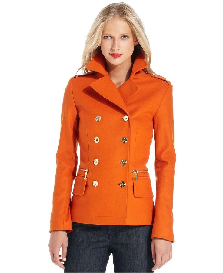 MICHAEL Michael Kors Double-Breasted Pea Coat in Orange